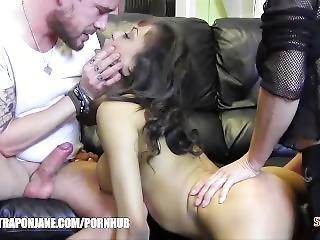 Femdom Big Cock Hunk Have Hardcore Threesome Spit Roast Ebony Big Tits Slut