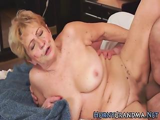 Fat Granny Rides Cock