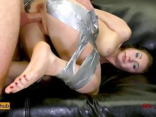 Sleeping Teen Bound With Duct Tape By A Burglar And Rough Assfucked. Mia