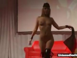 Stripper with pierced nipples  live show