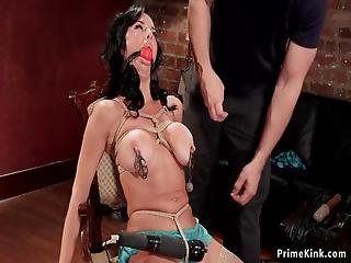 Huge Tits Dark Haired Milf Slave Veronica Avluv With Ball Gag Gets Nipples Clamped In Chair Bondage Then Pussy And Ass Vibed And Fucked With Dildo