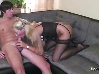 German 43yr Old Step-mom Helps Big Dick Step-son First Fuck