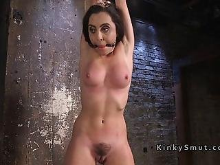 Colege Brat Roxanne Rae With Gag Ball In Bondage Got Vibed Then In Rope Suspension Swinged By Her Master The Pope And Finally Hairy Pussy Toyed And Paddled