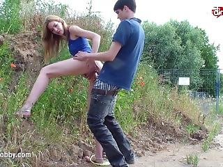 Mydirtyhobby - Quick Outdoor Fuck And Creamy Facial