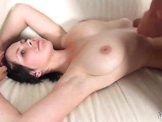 Real First Porn Audition For Busty Young Brunette Ends With Cum On Tits