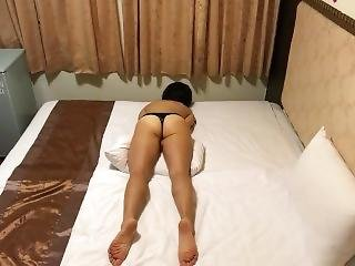 Asian Grinding To Orgasm In Hotel