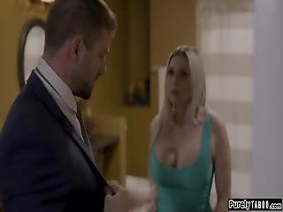 Busty Milf Wife Opens The Door For Her Husbands Coworkerhe Knows Shes Willing To Cheat And They Kiss And Go Straight To The Bedroomhe Eats Her Pussy And She Deepthroats His Dick And Rides It