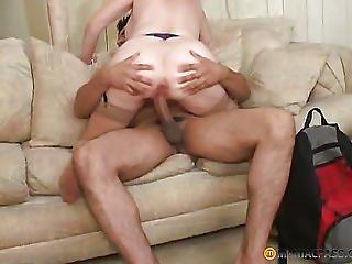 Blonde In Beige Stockings Fucks With Guy