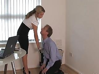 Blonde, Boss, Femdom, Fetish, Foot, Punish, Spanking