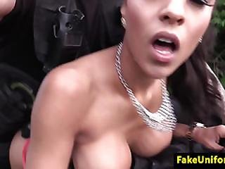 Ebony Beauty Tonguing Cops Arsehole In Public