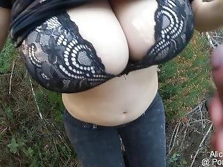 Bf Fucks My F Cup Boobs In The Forest, Huge Oudoor Cumshot