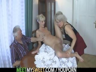 Old Couple Seduce Blonde Teen Into Cock Riding