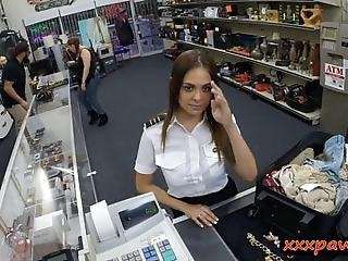 Amateur Brunette Latina Stewardess Sucks Off And Gets Railed By Pervert Pawn Man Inside His Pawnshops Toilet