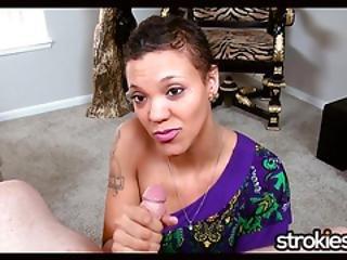Strokies Ebony Nia Cummins Cummy Tits Handjob