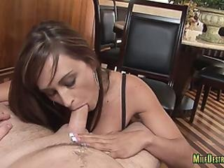 Chesty Milf Gets Her Mouth Full