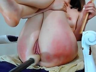 Insane Orgasm With Squirting - Teen Fucked By Fuck Machine