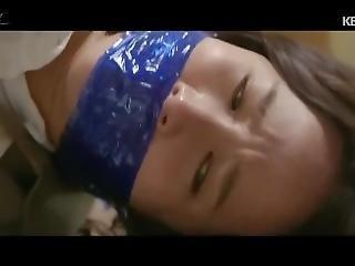 Korean Woman Blue Wrap Gagged
