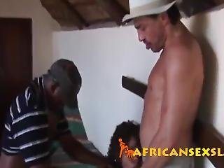 African Teen Filled By Two Stiff Cocks In Threeway