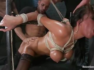 bondage, innbundet, cumshot, dobbel penetrering, hardcore, penetrering, grovt, sex