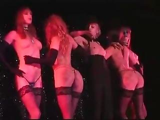 Strip Singer And Back Dancer With Long Gloves On Stage