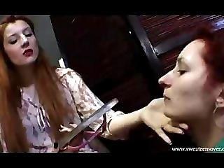 Lesbian Feet Slave Polish Slapped