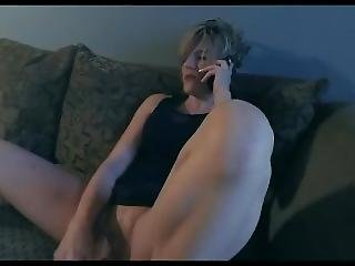 Milf Late For Wedding Using Dildo While On Phone On Shaved Pussy
