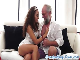 Curly Haired Teen Jizzed In Mouth By Grandpa