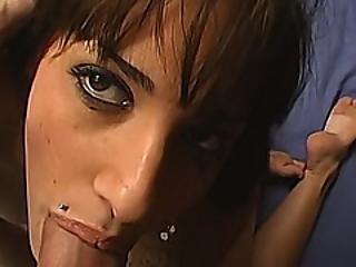 pipe, brunette, éjaculation, deepthroat, sale, lèche, milf, chatte, tatouage, taillée