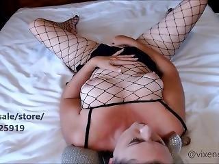 Mature Aussie Milf In Fishnet Bodystocking Rubbing My Pussy
