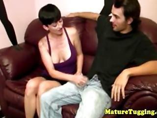 Tugjob Loving Mature Jerks His Cock