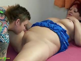 Granny Chubby Enjoying Strapon With Teen