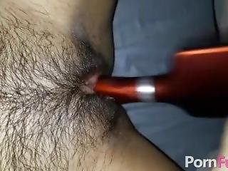 Teen Hairbrush Toying Her Tight Hairy Pussy