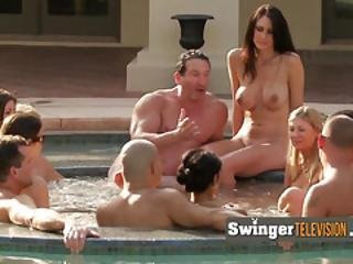 Trish And Jp Join Other Horny Swingers In The Hot Tub For Foreplay