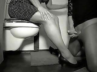 Bathroom, Fetish, Foot, Horny, Lick, Milf, Nylon, Squirt, Stocking