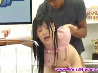 Asian News Hottie Nailed And Gets Creampie