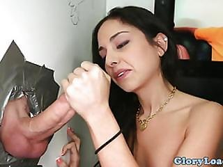 Gloryhole Newbie Cocksucking Before Fucking