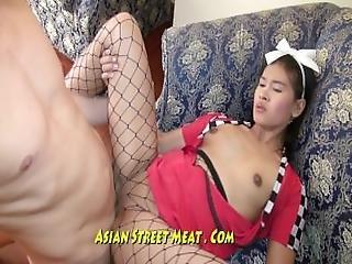 asiatique, brunette, cowgirl, nourriture, missionaire, fine