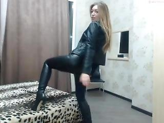 blond, cam jente, rollespill, søt, fetish, lær, sexy, solo, Tenåring, webcam
