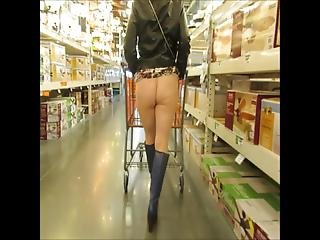 Shopping In A Short Skirt And Sheer Pantyhose Is Fun