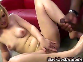 Fetish Slut Interracial Footjob And Cumshot
