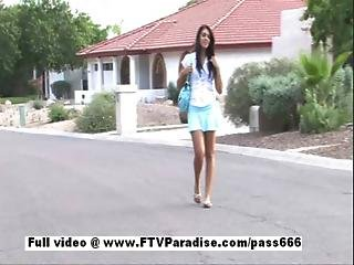 Gorgeous Girl Claire Brunette Sexy Girl Public Posing And Masturbating