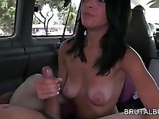 Brunette Fucking Shaft In Mouth And Slick Cunt