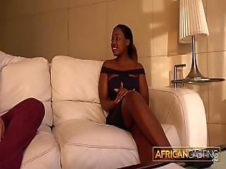 Perfect Ebony Teen Deep Throats Big White Cock