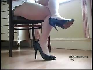 Mature In Short Short Short Skirt And White Pantyhose