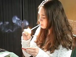 Sweet Smoking Teen Kaitlynn Smiles After Each Inhale