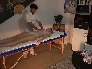 Hidden Camera In Massage Parlor - Chubby Masseur Fucks Client