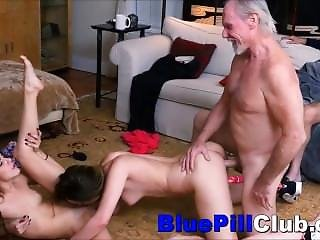 Stunning Teenage Lezzies Fuck Party With 2 Old Grandads