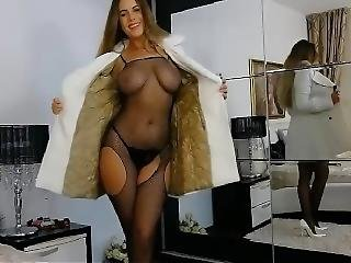 bonasse, gros téton, brunette, champagne, collants, bas collants, solo, webcam