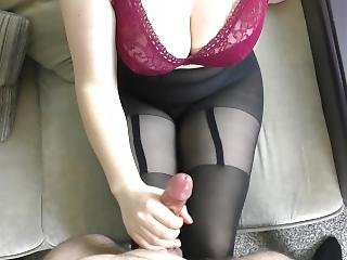 Amateur Teen Big Tits Handjob On Her Sexy Pantyhose - Cum On Tights