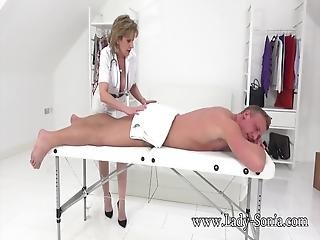 Naughty British Gilf Lady Sonia Was Giving A Guy A Massage When She Started Getting Turned On! She Played With His Big Cock Then Let Him Pound Her Sweet Pussy!